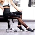 Malha transparente Legging roupas de ginástica para mulheres de fitness feminino ver através faixa calças pretas 757