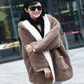 Плюс размер одежды женщины фланель толстовка с капюшоном свободные густой шерсти верхняя одежда зимнее пальто