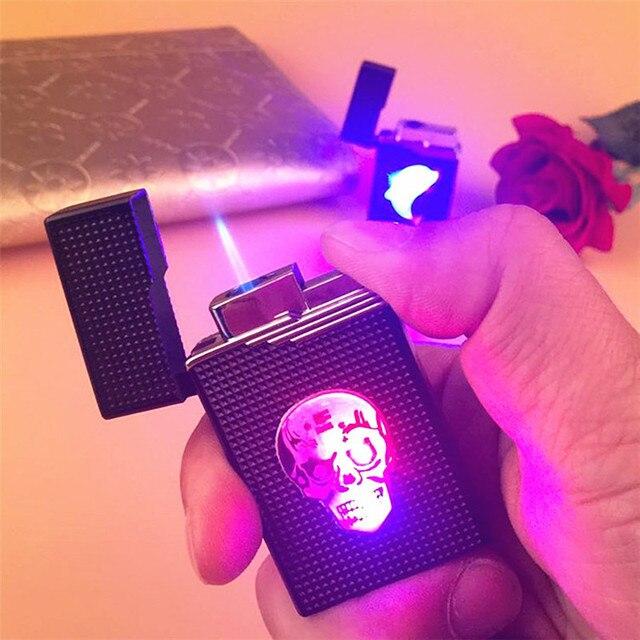 Briquet coloré à LED, Compact, Jet de Butane, accessoires, allume cigare, coupe vent, Turbo, 1300 C