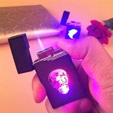 สีสัน LED ขนาดกะทัดรัดบิวเทนไฟแช็กไฟฉาย Turbo บุหรี่อุปกรณ์เสริมแก๊ส 1300 C Windproof ซิการ์ไฟแช็ก