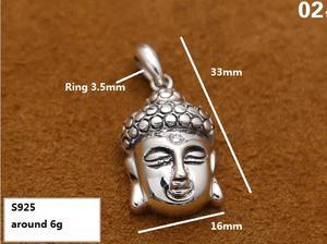 Image 2 - Handcrafted 925 Silver Buddha Pendant Necklace 925 sterling Tibetan Buddha Head Amulet Pendant Good Luck Buddha Statue Amulet