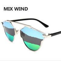 Mix Wind 2017new Arrivl Fashion Sunglasses Women Brand Designer Polarized Retro Cat Eye Metal Frame Mirror