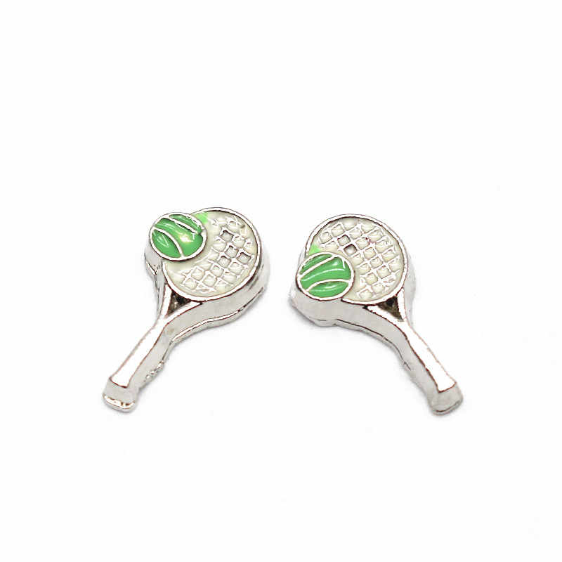 Hot Sale 10pcs/lot Metal Silver Enamle Tennis Racket Floating Charms Fit Glass Memory Floating Lockets DIY Jewelry