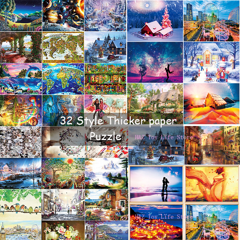 32 Style Adult Puzzle 1000 Pieces World Landscape Puzzle Cartoon Jigsaw Puzzles For Children Educational Toys New Year Gifts