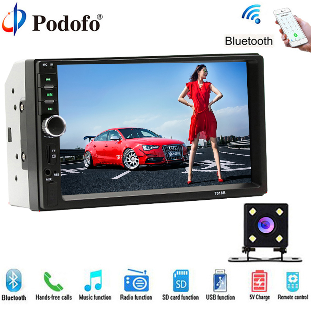 Podofo 2din Car Radio Universal Car Multimedia Player 7 Touch BT MP5 TF USB FM Car