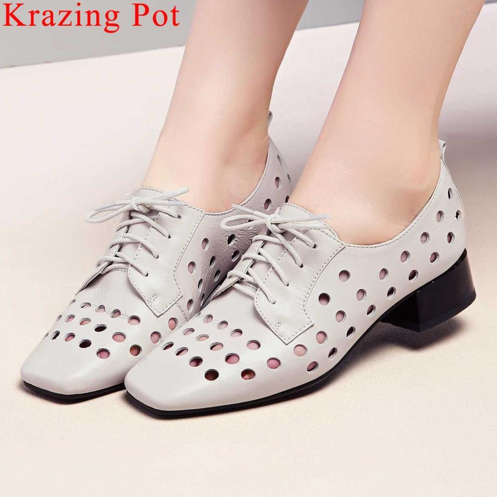 Krazing Pot en cuir véritable British school respirant trous bout carré femmes pompes à lacets style concis campus chaussures décontractées L05