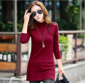 Hot long section women tops cotton long-sleeved t-shirt women high-quality add wool shirt women slim round neck women shirts