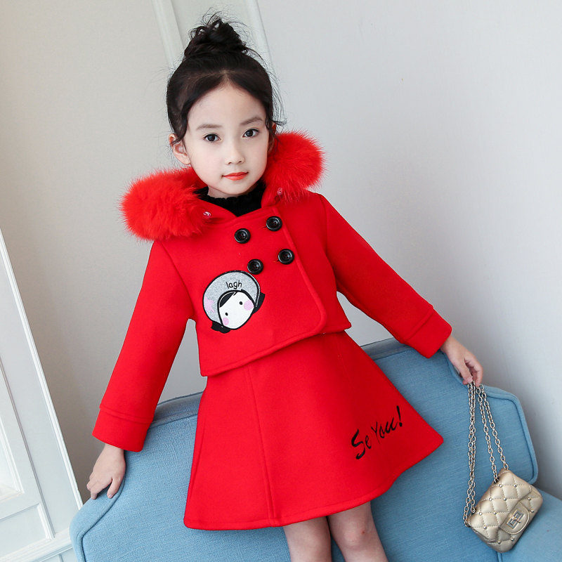 3-11 year old girl winter suit Children's woolen two-piece set Hooded fur collar coat Embroidered skirt Cartoon double breasted girls single breasted raw hem skirt