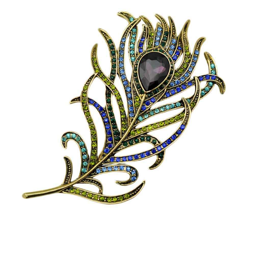 2017 New Vintage Besar Berlian Imitasi Peacock Feather Bros Wanita Pin Kristal Bros Bouquet Jewelery Hadiah