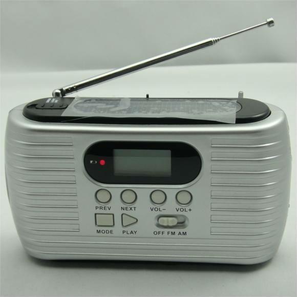 10 unids Mini portátil AM / FM solar radio stereo radio con 3 LEDs recargable linterna cargador del teléfono de emergencia