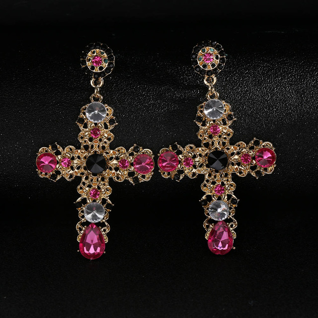 New Baroque Style Drop Earring Luxury Gold Color Colorful Crystal Cross Large Long Dangle