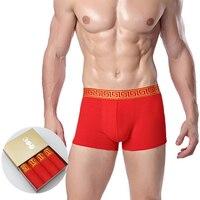 Chenke 4 unids/caja chino rojo de algodón boxeador Pantalones cortos hombres 2017 hombres transpirable Ropa interior nuevo diseño de moda calzoncillos Comfort troncos
