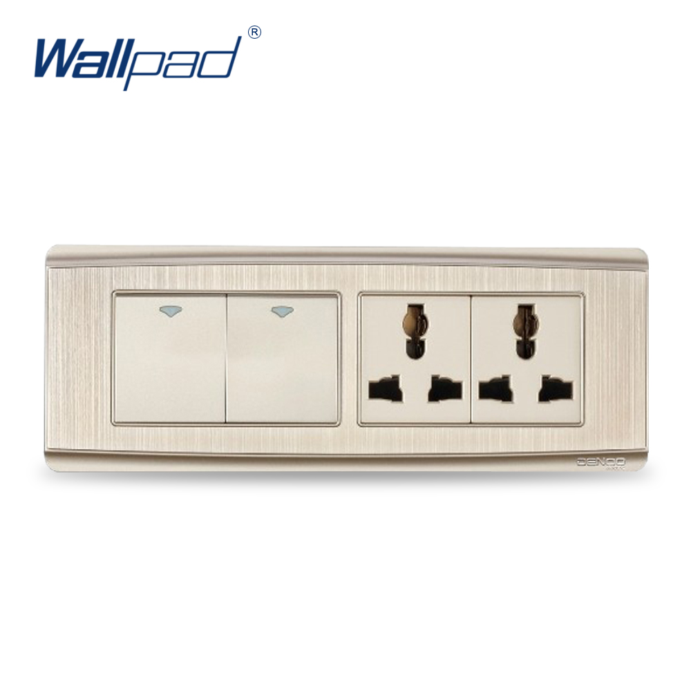 2 Gang 6 Pin Universal Socket 2017 Hot Sale China Manufacturer Wallpad Luxury Push Button Wall Light Switch double computer socket free shipping hot sale china manufacturer wallpad push button luxury arylic mirror panel wall