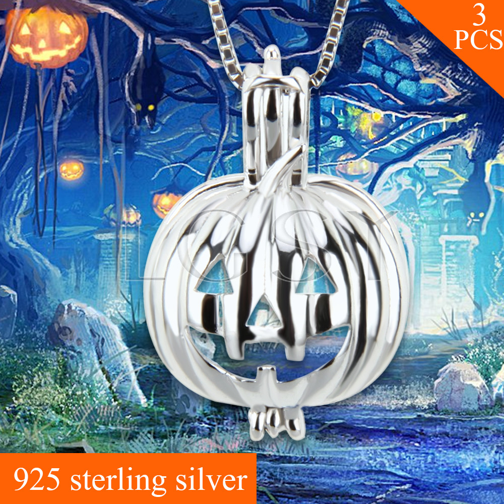 Halloween Gift Pumpkin Charms 925 Sterling Silver Necklace Cage Pendant 3pcs