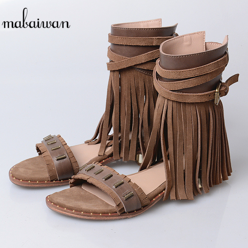 Mabaiwan New Casual Women Shoes Summer Beach Sandals Genuine Leathe Shoes Woman Fringed Gladiator Sandal Tassel Breathable Flats summer tassel sandals fashion rivet gladiator sandals women flats big size hollow shoes woman casual sandal free shipping