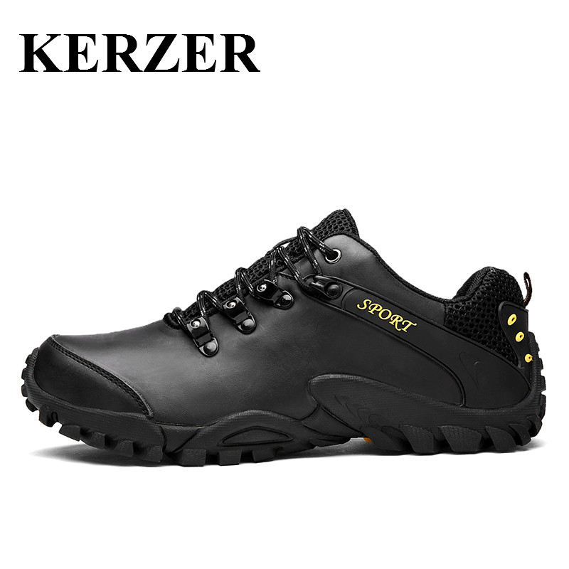 Hot Outdoor Shoes Men Leather Hiking Shoes Mountain Boots Spring/Autumn Men Climbing Shoes Sport Boot Black Outdoor Sneakers  endstop mechanical limit switch ramps 1 4 3 d printer using modules
