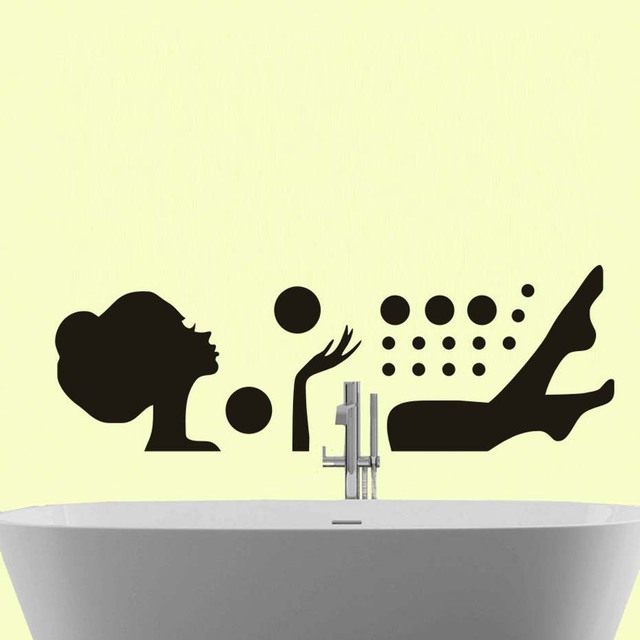 Relaxing bubble bath girl wall sticker vinyl removable wall decals waterproof art decals self adhesive wallpaper