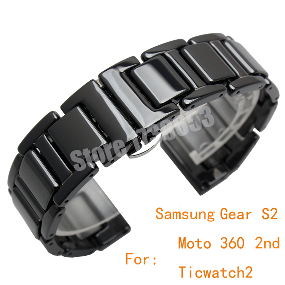 Quality Ceramics and Stainless Steel Watchband 20mm Mens Black Watch band For Samsung Gear S2/Ticwatch 2/moto 360 Strap