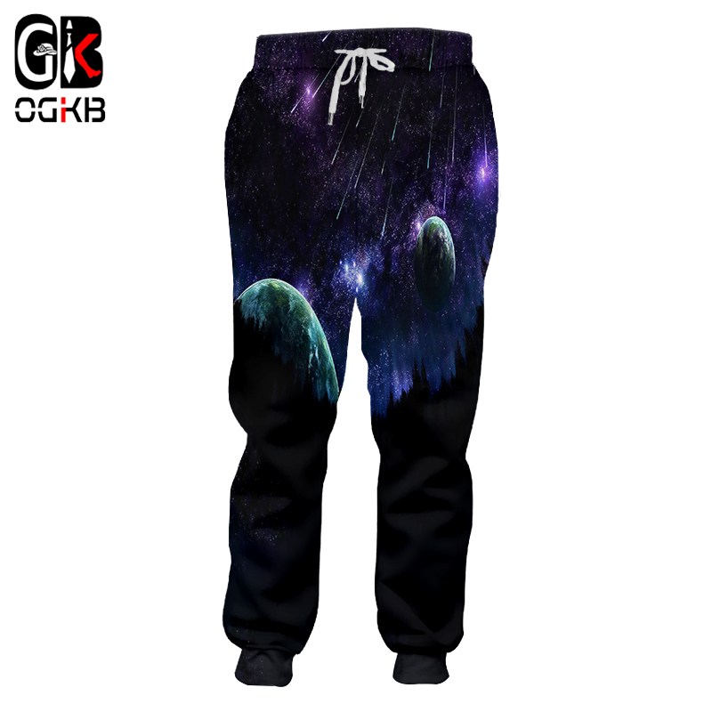 OGKB 2018 Autumn Spring Men/women Casual Full Length Pants Haren Galaxy Space 3D Printed Sweat Pants Hip Hop Sweatpants 5XL