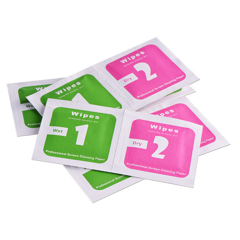 100sets/<font><b>lot</b></font> Dry-Wet Wipes For Tempered Glass Screen Protectors <font><b>Accessories</b></font> Alcohol Pad Mobile Screen Cleaning Cloth tools