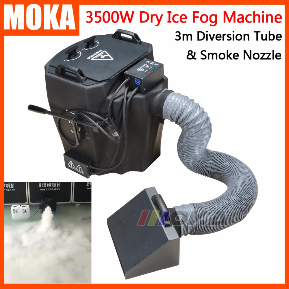 1 Pcs/lot 3500w dry ice fog machine with smoke nozzle and diversion tube high power stage dry ice machine