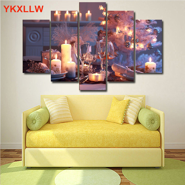 Wine Glass Candle Drinks Print Canvas Painting Spray Paintings Modular  Picture Printed Wallpaper For Living Room