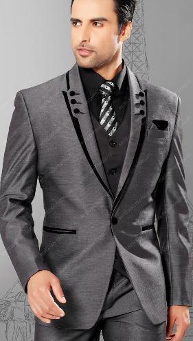 Fit pico solapa del novio esmoquin trajes de boda gris hombre trajes ...