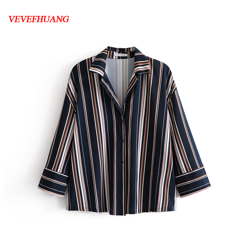 Spring Casual Women Turn-down Collar Striped Blouses Long Sleeve Streetwear Blusas Femme tops Show Slender Figure