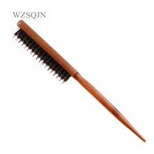 ไม้จับผมแปรงหมูป่าธรรมชาติปุยขน Anti Loss หวีตัดผมเครื่องมือ Teasing Bristle Salon Hairbrush