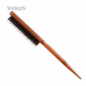 Image 1 - Brosse à poils de sanglier naturels avec manche en bois, Anti perte, peigne pour Salon de coiffure