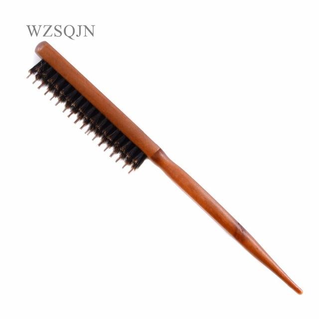 Brosse à poils de sanglier naturels avec manche en bois, Anti perte, peigne pour Salon de coiffure