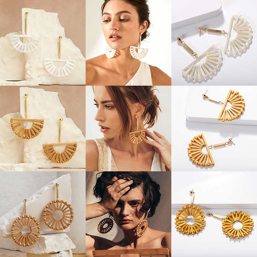 Dvacaman Wooden Earrings Jewelry Cult Gaia Knit Big-Statement ZA Women for Full-Handmade
