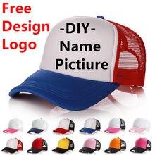 6a2ab240ef9eb1 Factory Free Custom Logo Baseball Cap Adult Personality DIY Design Trucker  Hat Polyester Hats Blank Mesh