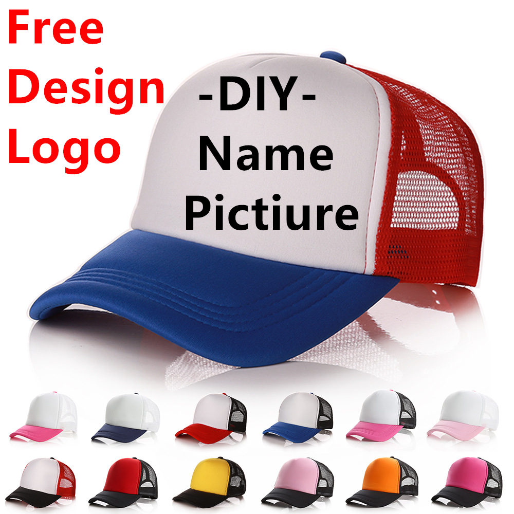 Factory Free Custom Logo   Baseball     Cap   Adult Personality DIY Design Trucker Hat Polyester Hats Blank Mesh   Cap   Men Women