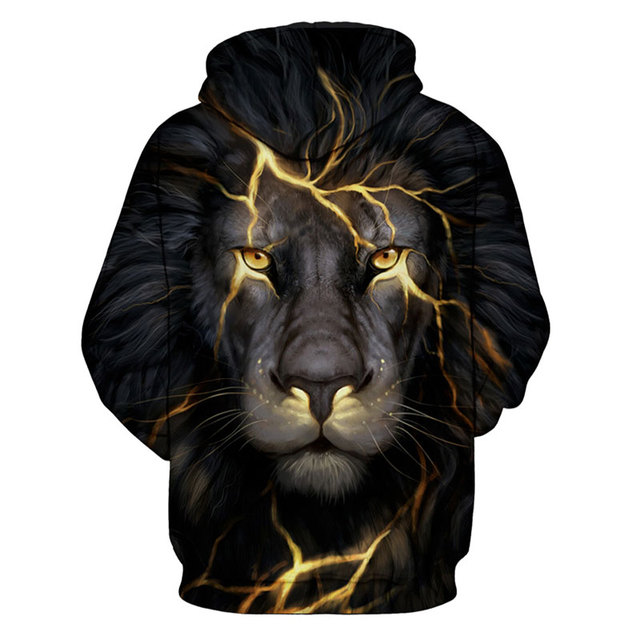 GOLDEN LIGHTNING LION FACE HOODIE