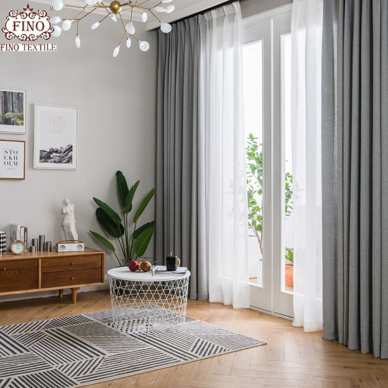 Fino Nordic Gray Solid Curtain Fabrics For Living Room
