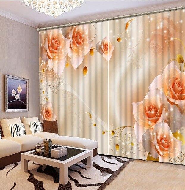 3d geel rose gordijnen 3d gordijnen voor beddengoed kamer interieur woonkamer natuurlijke art