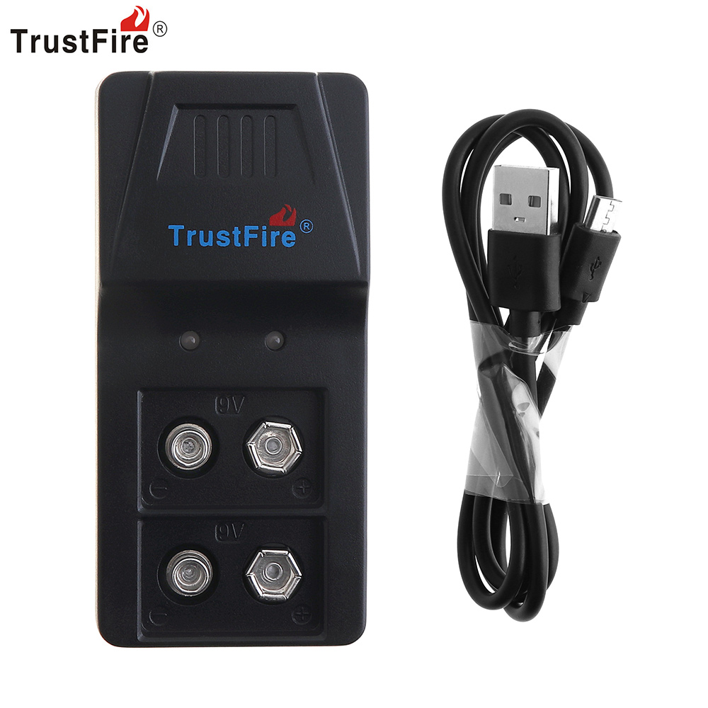 Trustfire Intelligent Charger 2 Slots 9V Li-ion NI-MH Battery Charger with Micro USB Port for 9V Li-ion NIMH Battery