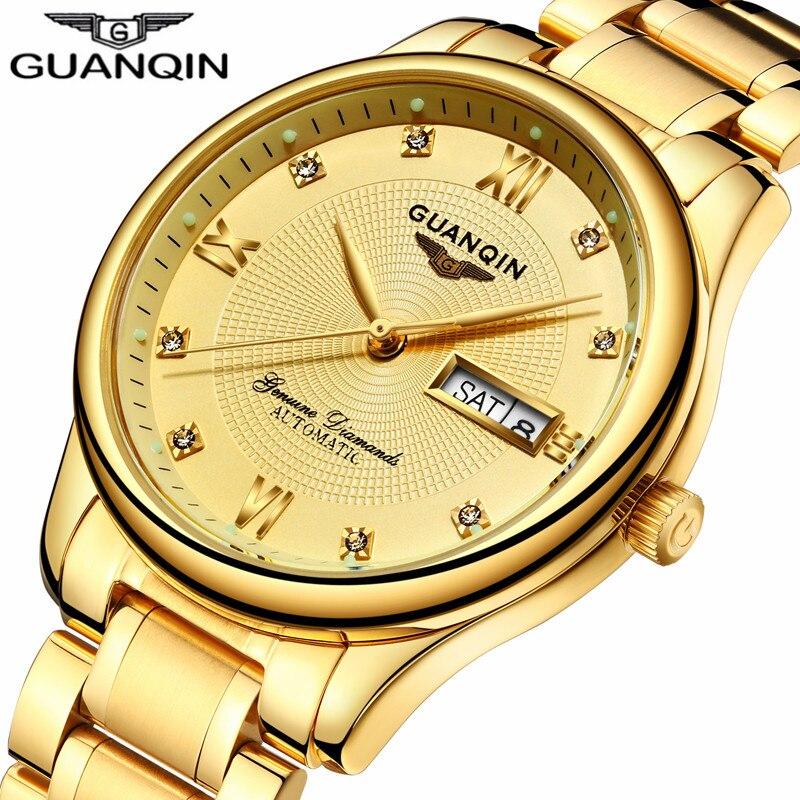 2018 GUANQIN montre automatique or montre mécanique hommes Top marque de luxe homme horloge lumineuse Auto Date résistant à l'eau montre-bracelet
