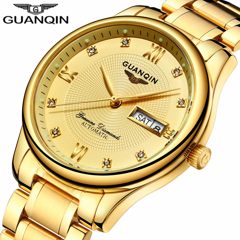 2018 GUANQIN Automatic Watch Gold Mechanical Watch Men Top Brand Luxury Man Clock Luminous Auto Date Water Resistant Wristwatch стоимость