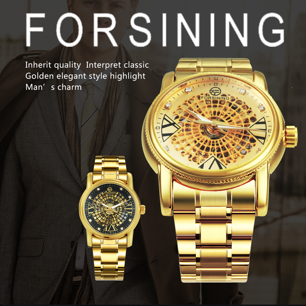 FORSINING Top Brand Luxury Dress Watch Men Auto Mechanical Skeleton Dial Golden Stainless Steel Strap Royal Classic Wristwatches 2