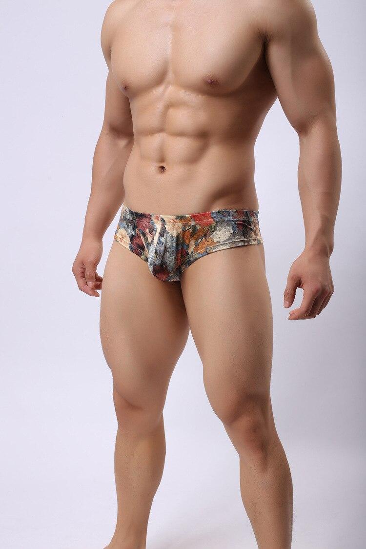 2018 Brand Howe Ray Printing Men's Small Angle Underpants Soft Slippery Milk Silk Underwear Sexy Boxers Men Gay Underwear