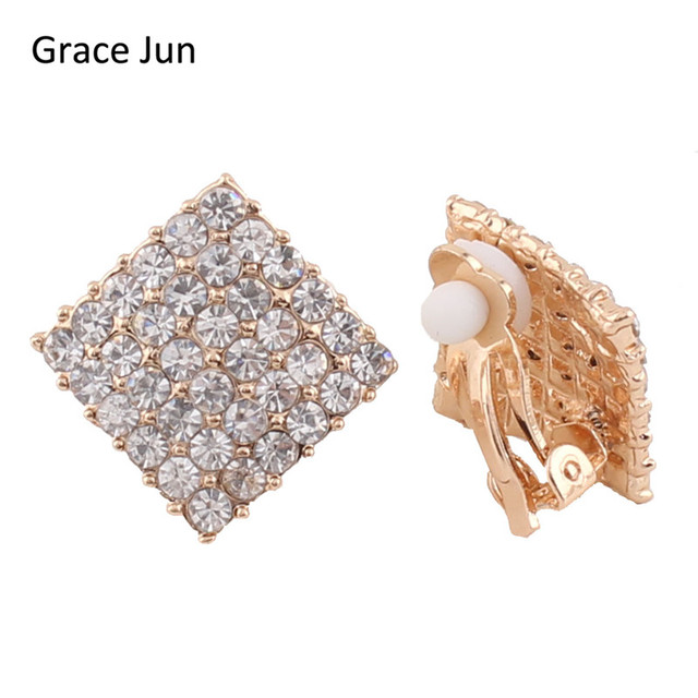 Grace Jun Tm 2 Colors Choose Vintage Rhinestone Square Clip On Earring Non Piercing