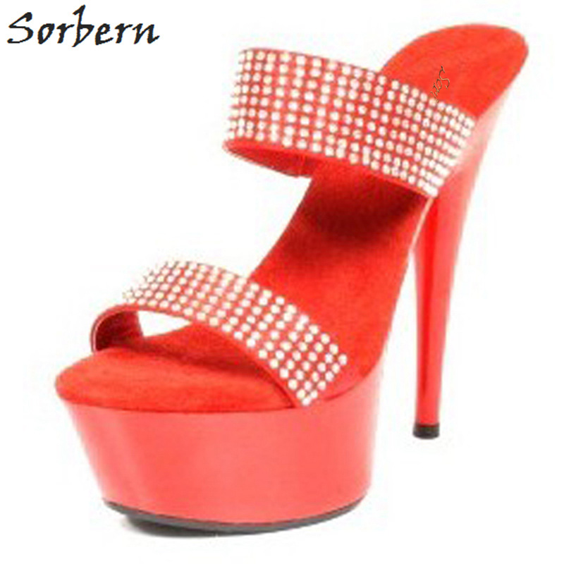 Sorbern Shiny Red Women Slippers Summer Shoes Ladies High Heels Crystals Straps Slides Females Platforms Women Platform ShoesSorbern Shiny Red Women Slippers Summer Shoes Ladies High Heels Crystals Straps Slides Females Platforms Women Platform Shoes