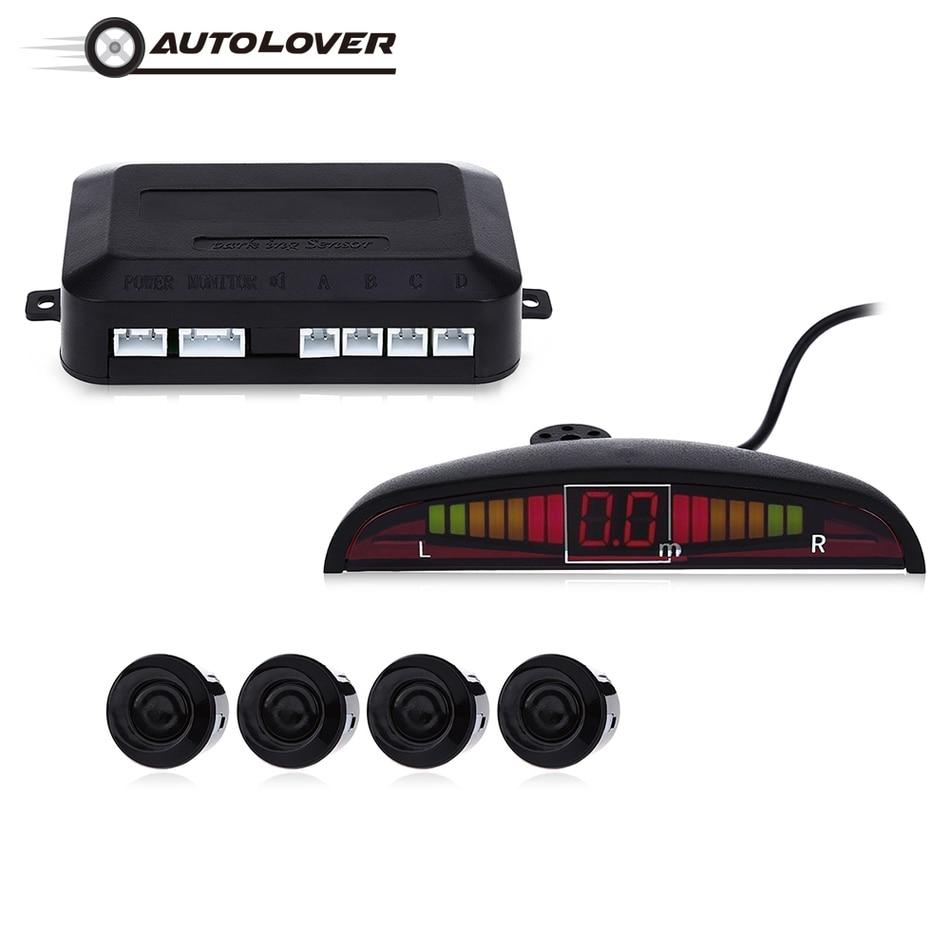 Prix pour Capteur de Stationnement de voiture Kit De Voiture Auto LED Affichage 22mm Inverse De Sauvegarde Radar Moniteur Parking Système D'avertissement avec 4 Parking capteurs