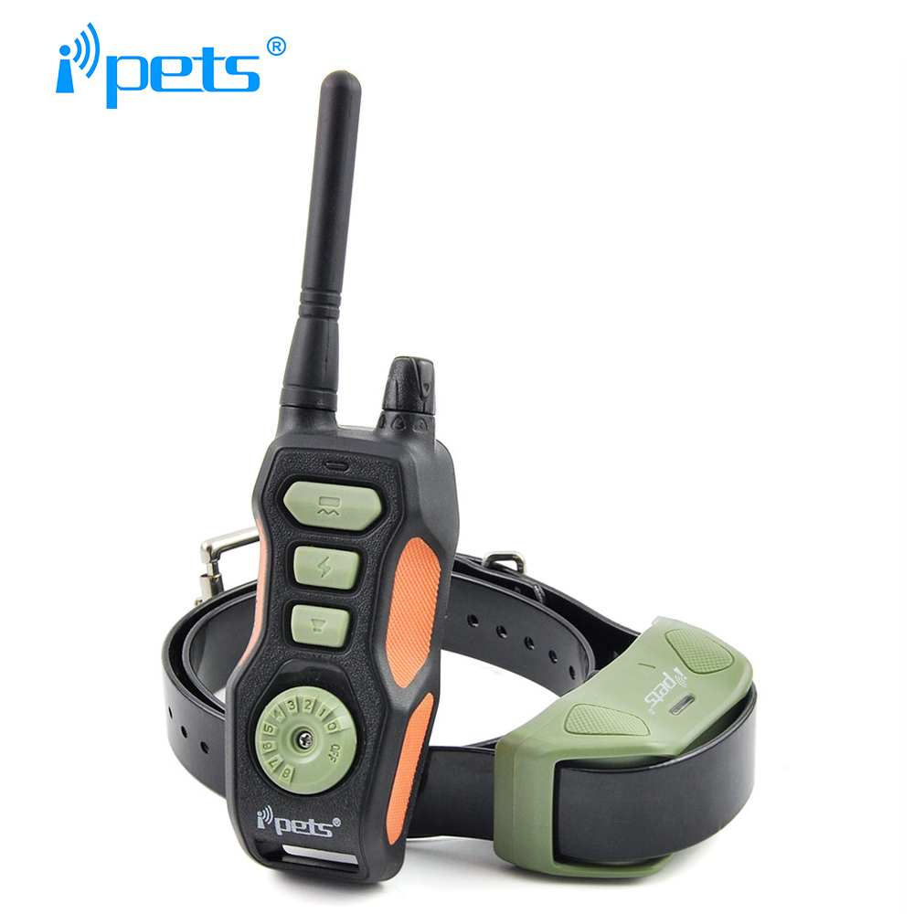 Ipets 618 1 800M Dog shock collar Remote Waterproof and Rechargeable Dog Training Collar
