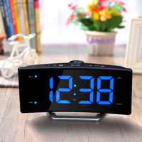Hot Sale Radio Projection Table Alarm Clock Desk LED Mirror Electronic Luminous Table Clock Charging LED