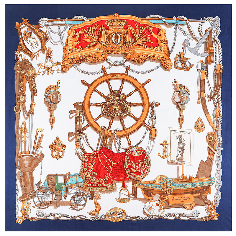Boat, Oar, Carriage, Sailboat And Reins Musee 130cm Brand Scarf 100% Silk Twill Scarf For Women Square Scarves  Hijab Kerchief