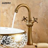 Free Shipping Euro Retro Antique Bronze Swivel Dual Handle Bathroom Basin Kitchen Deck Mounted Sink Mixer