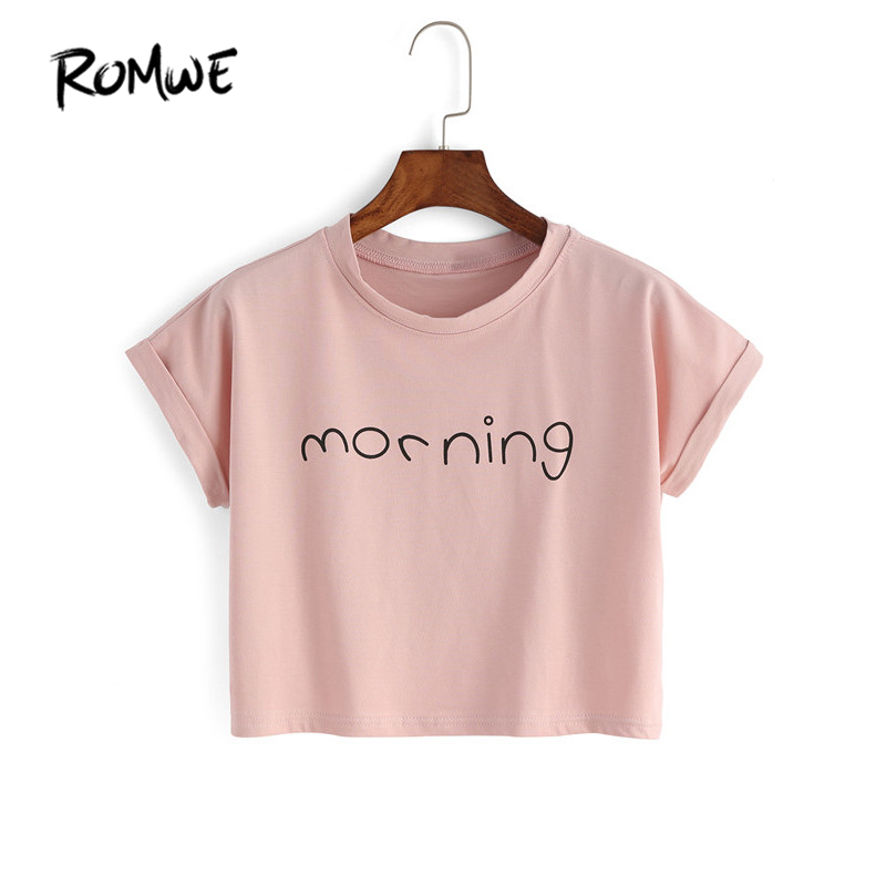 ROMWE Womens New Arrivals 2016 Tops Summer Korean Style Cute Fashion Pink Round Neck Short Sleeve
